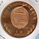 North Korea 1 won 2001 (PROOF - Brass)