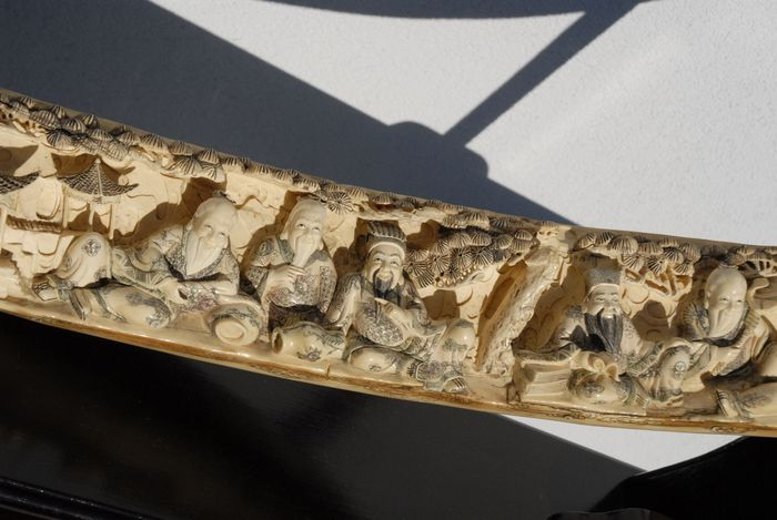 Chinese carved mammoth ivory immortals tusk with inlay - Hong Kong - 184 cm  - mid 20th century - Catawiki