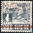 Overprint 'Repoeblik Indonesia' with one wide bar over Ned. Indie