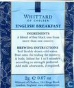Tea bags and Tea labels - Whittard of Chelsea - English Breakfast