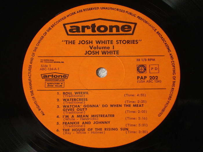 Josh White Stories Vol 1 Lp Dutch 1st Pressing