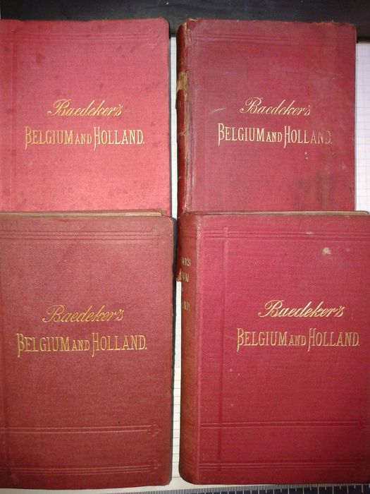 Baedeker; Lot met 4 edities van Baedeker's Belgium and Holland - 1884/1894