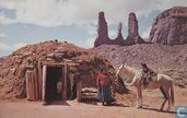Navajo Indian Hogan family with horse