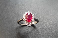 Platinum Ruby and Diamond Cluster Ring - size 52