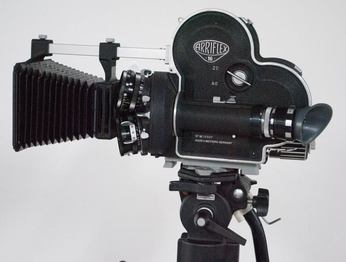 Arriflex 16S 16mm camera on Manfrotto Model 136 professional tripod