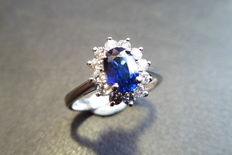 Platinum Sapphire and Diamond Cluster Ring - size 51