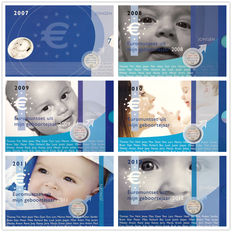 "The Netherlands - Year packs 2007/2012 ""Baby sets boy"" with medal (6 different)"