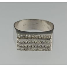 Platinum men's ring with brilliant cut diamonds, approx. 1.00 ct, K VS