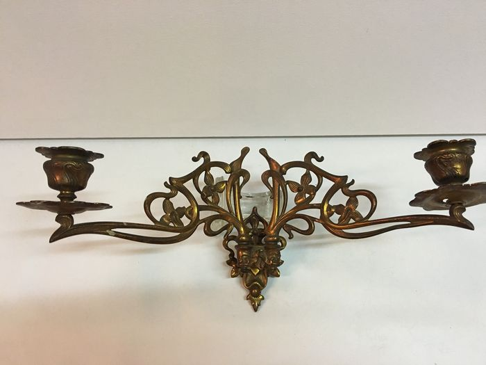 L Pinet Two Bronze Art Nouveau Wall Sconces