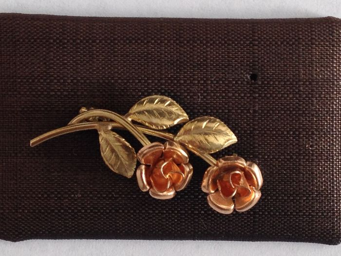 two coloured rose brooch made of gold catawiki