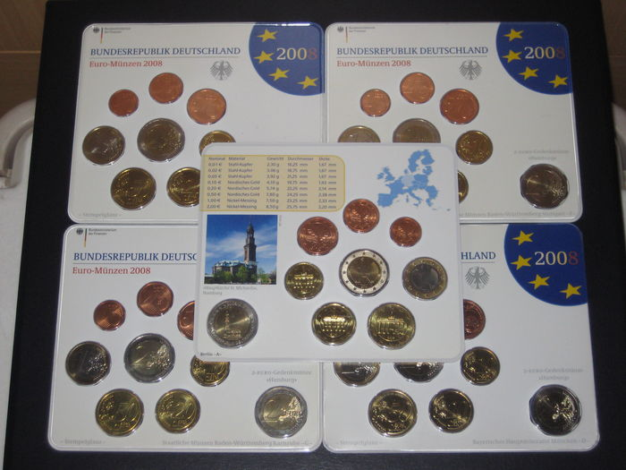 Germany Euro Coin Set 2008 A D F G J Incl 5 X 2 Euro Euro