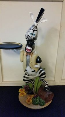 Madagascar - statue - made from fiberglass - 100cm tall - Marty the zebra statue with serving tray