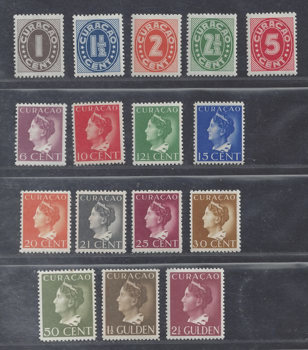 Curaçao 1941/1948 – Wilhelmina type 'Konijnenburg, Hartz' and Number – NVPH 141/152 + 153/157 + 185/195