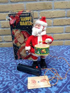 Happy Santa / Merry Santa of the Cragstan company, battery operated with the original box