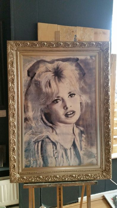 Brigitte bardot painted in giclee 70x100cm artist for Stephan evenblij