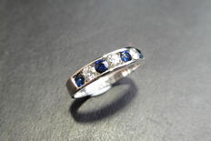 9k gold Sapphire and Diamond Eternity Ring - size O free resize