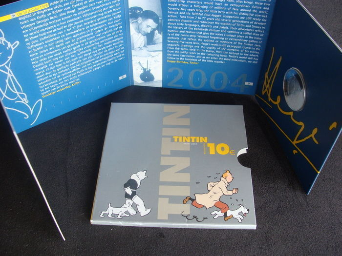 "Belgium - 10 euro 2004 ""75 years Tintin/Kuifje"" silver in blister packaging."