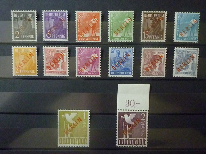 Berlino 1949 - Allied occupation with red overprint - Michel Berlin West 21-34