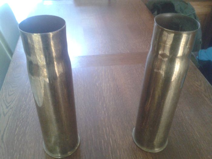 2 German cannon shells WW1 nicely finished.