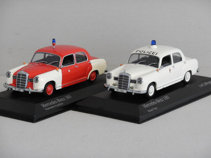 Minichamps scale 1 43 2 x mercedes benz 180 emergency for Mercedes benz emergency number