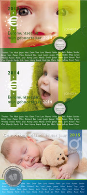 "The Netherlands - year packs/ year collections ""Baby sets boy"" 2013/2015 (3 pieces), with medal"