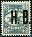 Horse-riding messenger, with overprint