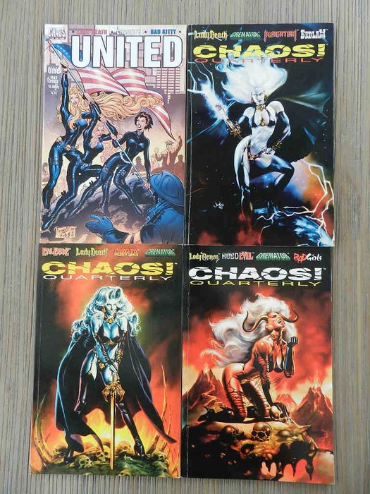 Chaos Comics including The Omen, Smiley The Psychotic Button