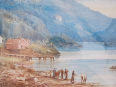Unknown (19th century) - Lake scene with mountains and figures