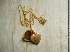 Gold necklace in 18 kt with heart, necklace length 41 cm