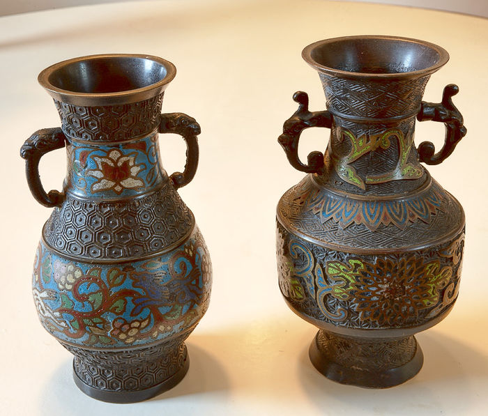 Two Bronze Japanese Vases One Cloisonn And One Champlev Technique
