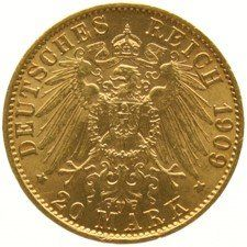 Germany, Prussia – 20 marks 1909 A – gold