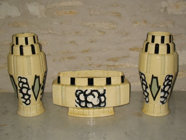 Orchies france large three piece pottery art deco cabinet set