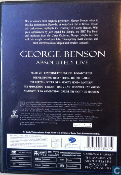 George Benson Absolutely Live - DVD - Catawiki