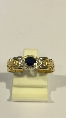 14 kt gold fantasy ring with blue sapphire Extra large size: 20 (63)
