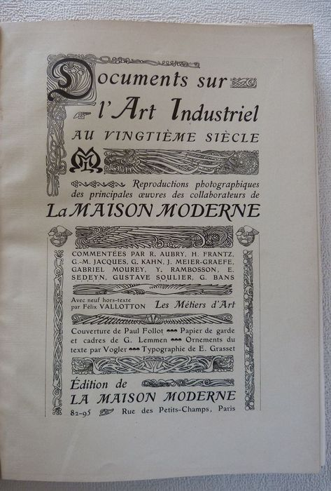 Orig. 1901 Catalogue by MAISON MODERNE, Paris - Documents Art ...