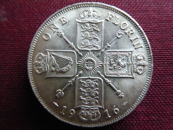 Great Britain - 1 Florin 1916 - George V - silver