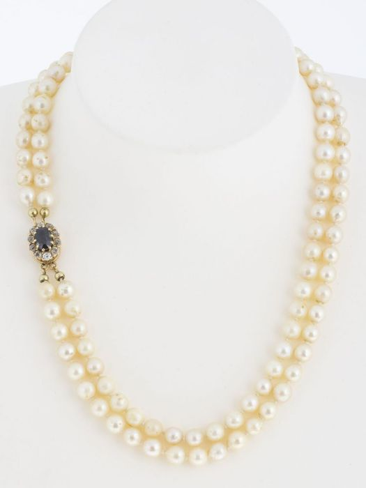 a77f522d3bde0f Akoya pearl necklace two rows with beautiful buckle set with large sapphire  9 x 6 mm