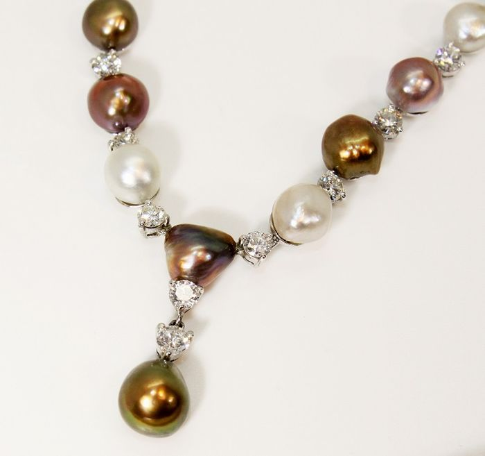 Natural Saltwater Pearl Necklace: Natural, Not Cultivated Pinctada & Pteria Salt Water Pearl