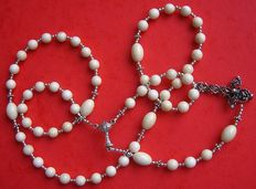Woolly Mammoth Ivory and sterling silver Catholic 5 Decade Rosary -