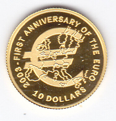 "Nauru - 10 dollars 2003 ""First Anniversary of the Euro""  - Gold"