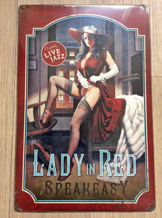 Wall plate; Greg Hildebrandt - Lady in Red - 2012