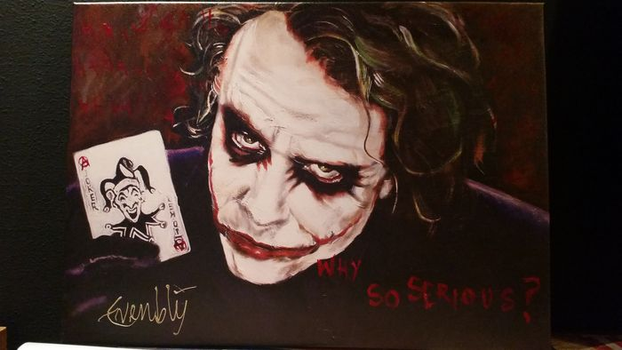 The dark knight heath ledger as the joker painting for Stephan evenblij