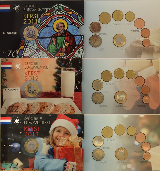 "The Netherlands - year packs/ year collections 2011/2013 (3 different) ""Christmas Sets"", special edition with 2 Euro coins"
