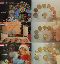 Netherlands - Year sets 2011/2013 'Christmas sets' special edition (3 different) with 2 Euro