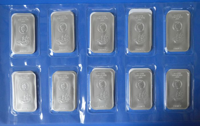 World - 10 X 1 troy ounce silver bars in seal.