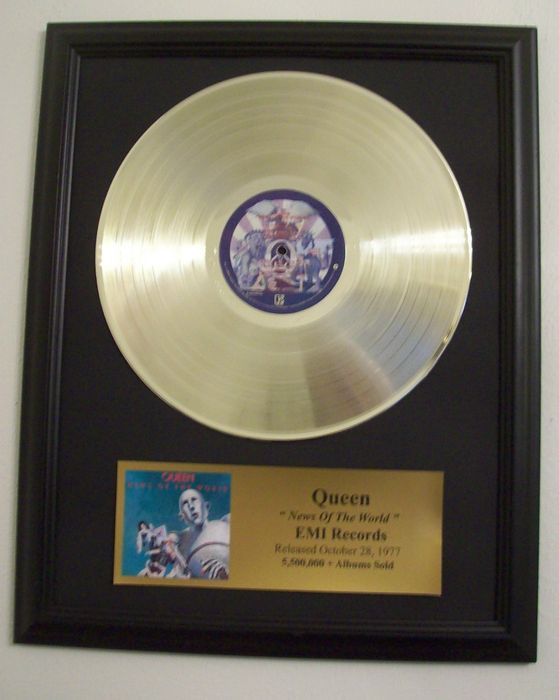 Queen - News of the World- Golden record LP with gold plague