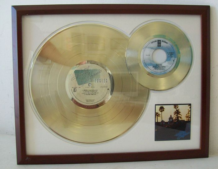 The Eagles  - Hotel California Dual record - 24k gold Golden Record LP + single
