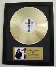 Michael Jackson - Bad - Golden record with goldplated plague
