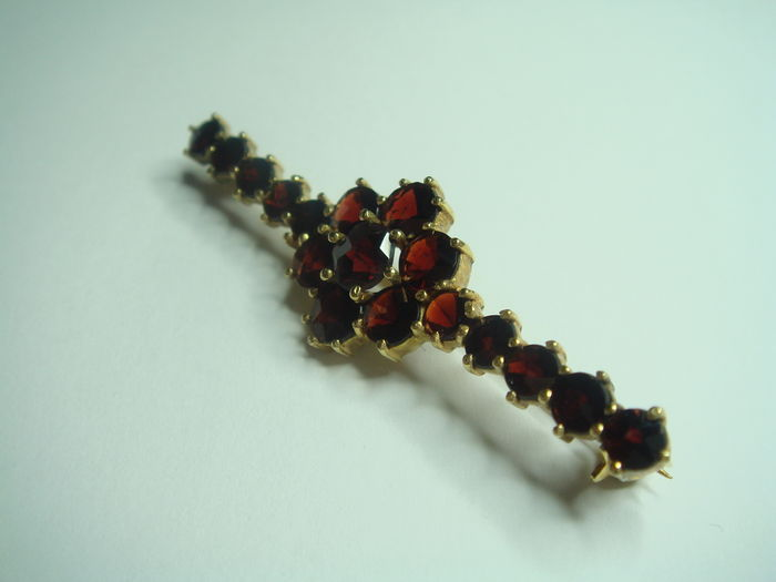 Brooch Genuine Norm 250 1000 Gold With Genuine Bohemian