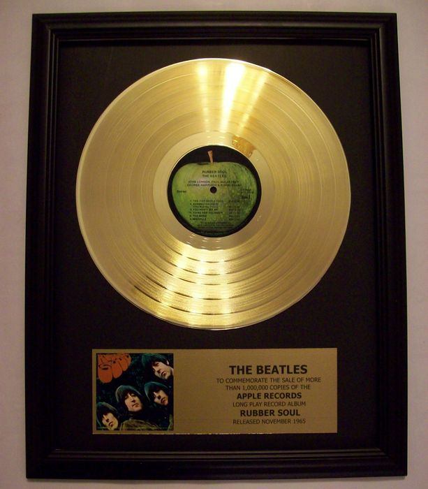 The Beatles Rubber Soul LP Album with Gold Plated plaque
